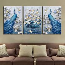 Quadro decorativo mosaico 3 peças Pavão azul luxo orquídea flor borboletas cartaz da arte - Neyrad
