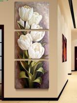 Quadro Decorativo Mosaico 3 Peças Tulipas Brancas.. - Paradecoração