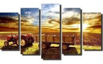 Quadro Decorativo Mosaico 5 Peças Agricultura Trator Mdf - Decorestudio