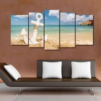 Quadro Decorativo Mosaico 5 Peças Ancora Na Praia - Decorestudio