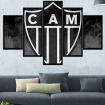 Quadro Decorativo Mosaico 5 Peças Atletico Galo Mineiro Mdf - Paradecoração