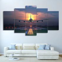 Quadro Decorativo Mosaico 5 Pecas Avião - Decorestudio