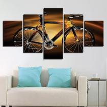 Quadro Decorativo Mosaico 5 Peças Bicicleta Em Chamas - Decorestudio