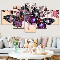 Quadro Decorativo Mosaico 5 Peças Borboletas - Decorestudio