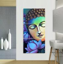 Quadro Decorativo mosaico 5 peças buda budismo meditação painel decoração modelo 43 - Neyrad
