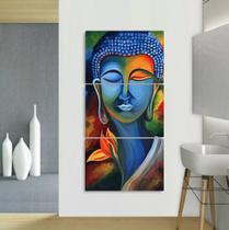 Quadro Decorativo mosaico 5 peças buda budismo meditação painel decoração modelo 46 - Neyrad