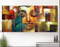 Quadro Decorativo mosaico 5 peças buda budismo meditação painel decoração modelo 5 - Neyrad
