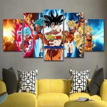 Quadro Decorativo Mosaico 5 Peças Dragon Ball Goku - Decorestudio