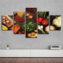 Quadro Decorativo Mosaico 5 Peças Frutas,verduras,legumes - Decorestudio