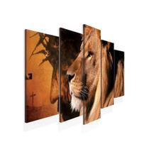 Quadro Decorativo Mosaico 5 peças Jesus e o Leão de Tecido modelo Canvas - Core Decore