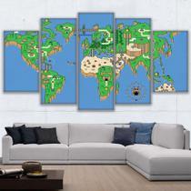 Quadro Decorativo Mosaico 5 Peças Mario World - Decorestudio