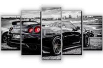 Quadro Decorativo Mosaico 5 Peças Mustang Preto Mdf 6mm - Neyrad