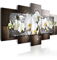 Quadro Decorativo Mosaico 5 Peças Orquídea Branca Mural - Neyrad