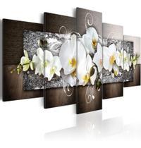 Quadro Decorativo Mosaico 5 Peças Orquídea Branca Mural - Paradecoração
