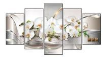 Quadro Decorativo Mosaico 5 Peças Orquídeas Brancas. - Premium Art Decoracoes