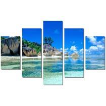 Quadro Decorativo Mosaico 5 Peças Paisagens Caribe Mdf - Neyrad