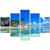Quadro Decorativo Mosaico 5 Peças Paisagens Caribe Mdf - Paradecoração