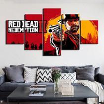 Quadro Decorativo Mosaico 5 Peças Red Dead Redemption - Decorestudio