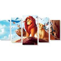 Quadro Decorativo Mosaico 5 Peças Rei Leao Crianças Disney - Decorestudio