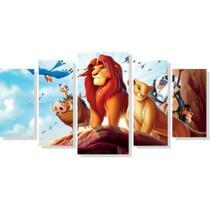 Quadro Decorativo Mosaico 5 Peças Rei Leao Crianças Disney - Neyrad