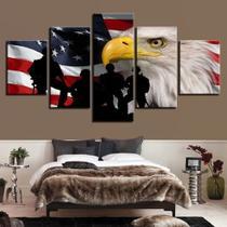 Quadro Decorativo Mosaico 5 Peças Soldados Guerreiros Eua - Decorestudio
