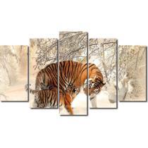 Quadro Decorativo Mosaico 5 Peças Tigre Na Neve +  Mdf - Decorestudio