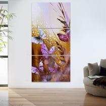 Quadro Decorativo Mosaico 60x120 Flores Borboletas Abstratas - Iquadros