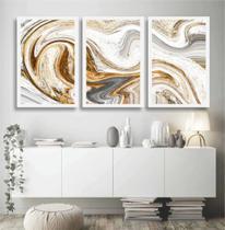 Quadro decorativo mosaico Abstrato Gold Sala Quadro 3 peças - Neyrad