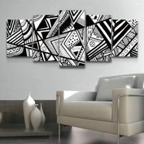 Quadro Decorativo Mosaico Abstrato Preto E Branco - Caverna Quadros