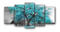 Quadro Decorativo Mosaico Ambientes 5 Peças Mdf Arvores - Neyrad