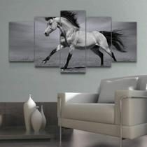 Quadro Decorativo Mosaico Cavalo Preto E Branco - Caverna Quadros