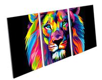 Quadro Decorativo Mosaico Leao Colorido - Gift Presentes