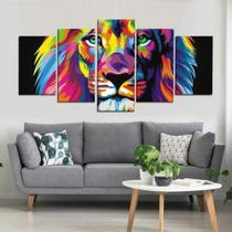 Quadro Decorativo Mosaico Leão De Judá Colorido - Caverna Quadros