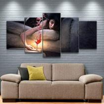 Quadro Decorativo Mosaico Mulher E Vinho - Caverna Quadros