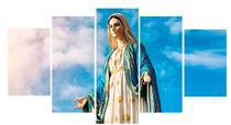 Quadro Decorativo Mosaico N Senhora das Graças Céu 5 peças - Católico Sou