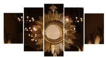 Quadro Decorativo Mosaico Ostensório 5 peças - Católico Sou