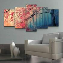 Quadro Decorativo Mosaico Paisagem Árvore Flores Rosa - Caverna Quadros