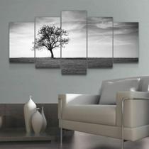 Quadro Decorativo Mosaico Paisagem Árvore Preto E Branco - Caverna Quadros