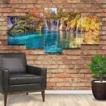 Quadro Decorativo Mosaico Paisagem Cachoeira 02 - Caverna Quadros