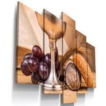 Quadro Decorativo Mosaico Pão e Vinho Santa Ceia 5 peças - Católico Sou
