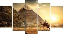 Quadro Decorativo Mosaico Pirâmides Do Egito 5 Peças Mdf - Decorestudio