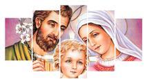 Quadro Decorativo Mosaico Sagrada Família 5 peças - Católico Sou
