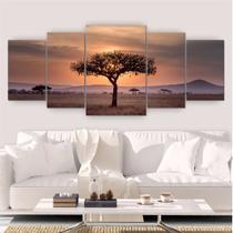 Quadro Decorativo Mosaico Sala Árvore Natureza 5 peças 144x60cm - Inove Adesivos