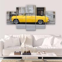 Quadro Decorativo Mosaico Sala Carro Retrô Amarelo 5 peças 144x60cm - Inove Adesivos