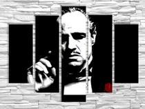 Quadro Decorativo Mosaico Sala Dom Corleone 5 Partes - Neyrad