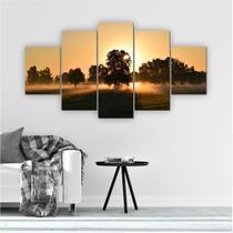 Quadro Decorativo Mosaico Sala Entardecer Árvore 5 peças 144x60cm - Inove Adesivos