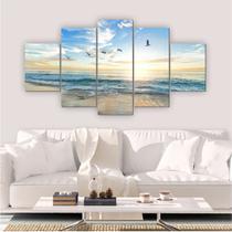 Quadro Decorativo Mosaico Sala Quarto Praia 5 peças 144x60cm - Inove Adesivos