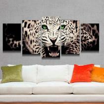 Quadro Decorativo Mosaico Tigre Branco Olhos Verdes - Caverna Quadros