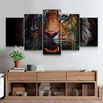 Quadro Decorativo Mosaico Tigre Tijolos 07 - Caverna Quadros