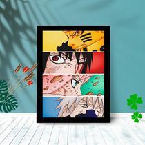 Quadro Decorativo Naruto Team C/ Moldura e Vidro 25x33 - Foto Paint